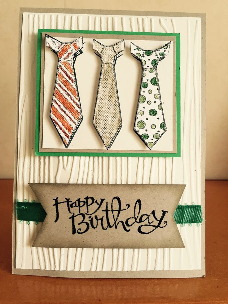 Tie image from Montarga Stamps along with SU sentiment and wood grain embossing folder.