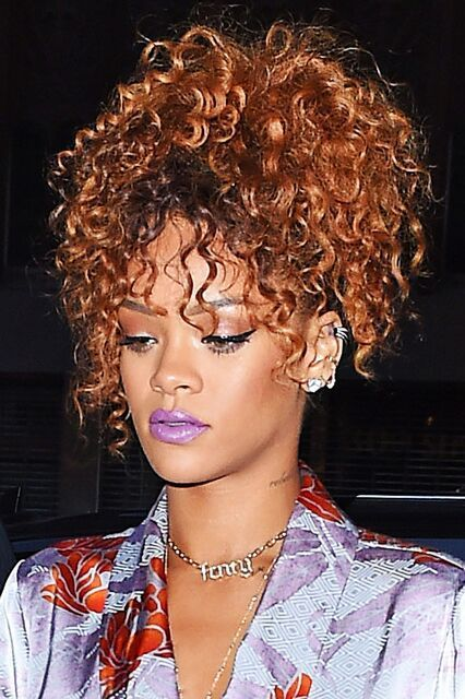 14 Times Rihanna Made Us Want To Wear Rainbow Lipstick #refinery29 http://www.refinery29.com/2015/09/93967/rihanna-best-colored-lipstick-looks#slide-14 A glossy pastel purple lip pairs perfectly with Rihanna's glam cat-eye and silky dress. We're pretty sure this violet shade is the same Free Spirits Cosmetics Purple Haze color Rihanna selfie'd back in April or the equally stunning <a href=...