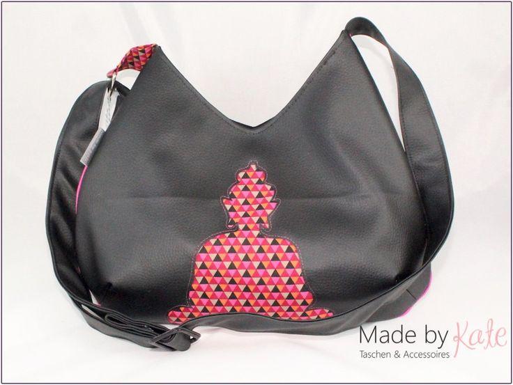 Buddha Tasche, Handtasche, schwarze Tasche, Schultertasche, Umhängetasche, Tasche, mit Buddha-Motiv, cross-body shoulder bag von madebykateBerlin auf Etsy