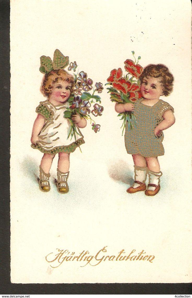 Sweden Sverige Old Posted Greetings Postcard Hjartlig Gratulation - kids children girl boy