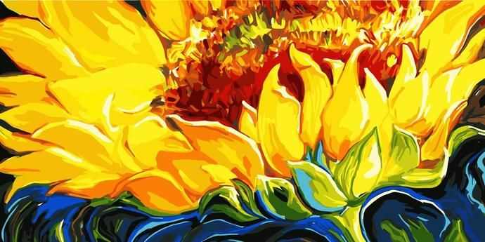 Diy Paint By Number Kit For Adults On Canvas Sunflower Extra Large Print 50x100cm 20x40inches Paint By Number Diy Painting Painting
