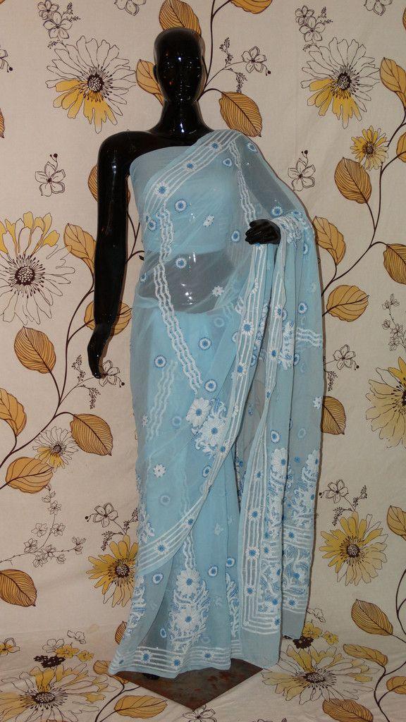 Chikankari Sky-Blue Georgette Saree - Cotton thread chikan with heavy border and pallu