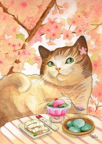 Sushi Cat Dessert First Matted art Print by BluebirdieBootique, $20.00