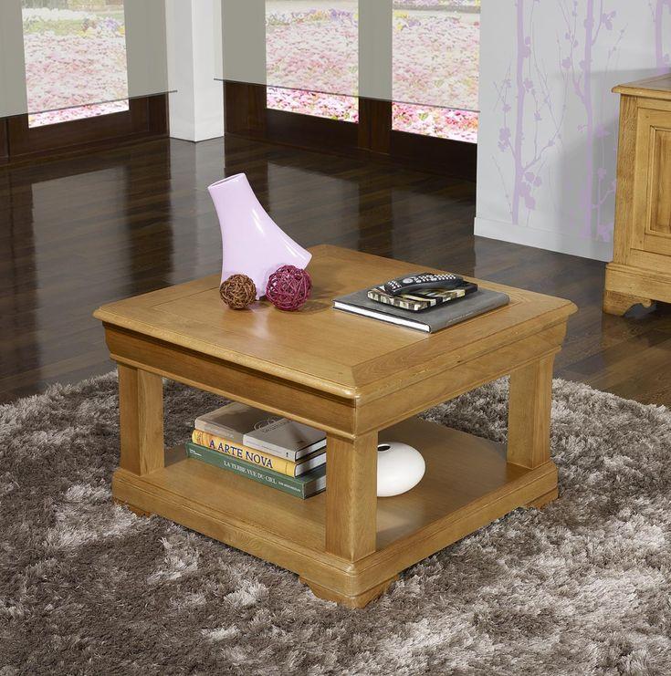 Table basse carrée 80x80 réalisée en Chêne de style Louis Philippe Finition Chêne