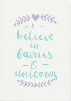 Unicorn Fairies Quote, Purple Mint Nursery Art, Watercolor Painting, Purple Mint Kids Room, Nursery Print, Girls Decor, Magic Quote by violetandalfie on Etsy
