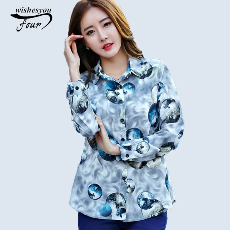 New spring Korean style Slim blouse long-sleeved casual tops 2017 large size women print flower fashion female shirt  657B 30