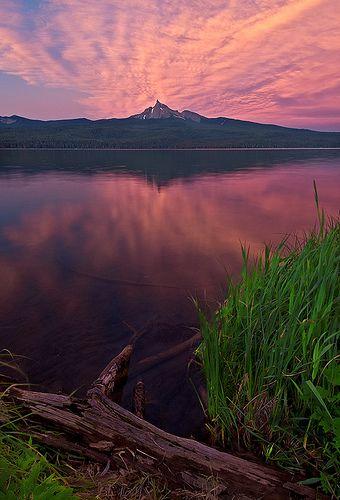 Mount Thielsen at Diamond Lake, Oregon High Cascades. Fishing here is an adventure.