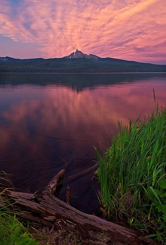Mount Thielsen at Diamond Lake, Oregon High Cascades. Fishing here is an adventure.