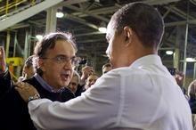 L'ad di Fiat e Chrysler, Sergio Marchionne, insieme al presidente degli Usa Barack Obama.