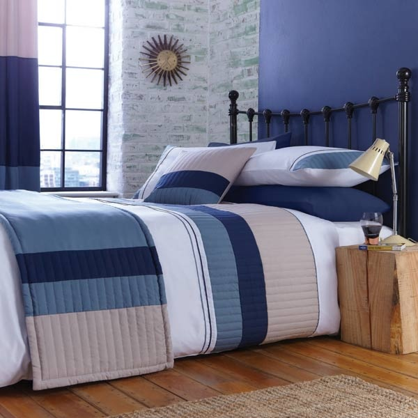 New York Navy Blue Beige Quilted Stripe Band White Duvet Quilt Cover Bedding Set