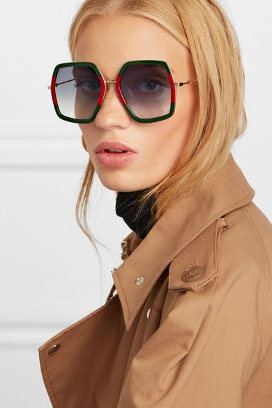 b5ceddf5d98 Gucci - Oversized square-frame metal sunglasses