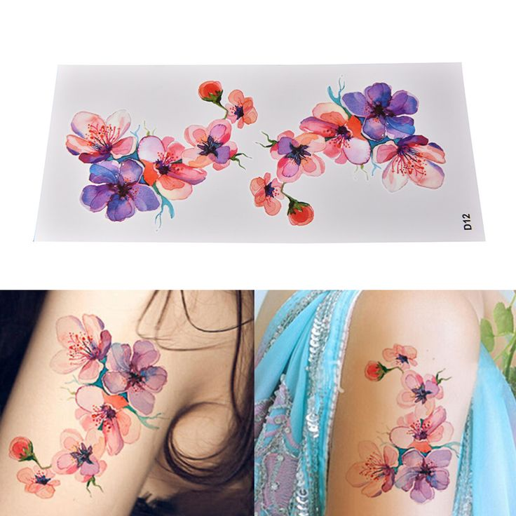 DIY Watercolor Orchid Arm Temporary Tattoo Sticker Waterproof Temporary Fake Tat… – Tattoo
