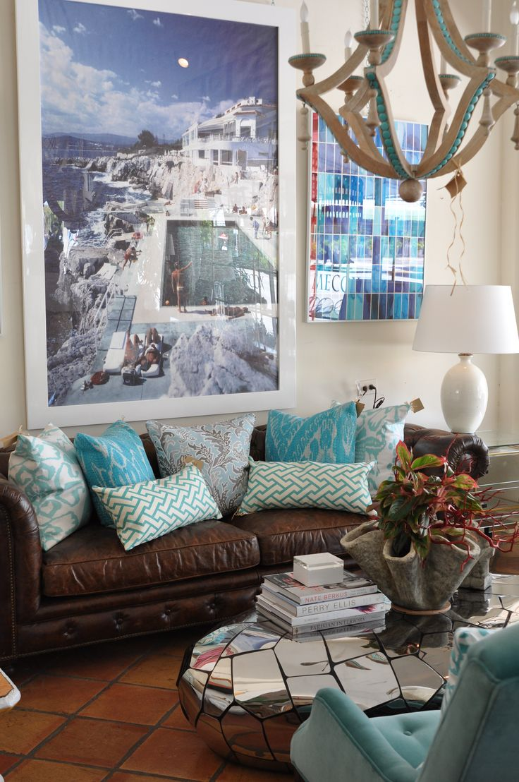 Turquoise sofa contemporary living room katie rosenfeld design - Find This Pin And More On Brown Couch