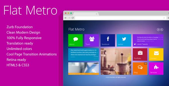 Flat Metro - Responsive HTML5 Theme . Falt Metro is a multipurpose, fully responsive Wordpress theme. The Theme is powered by Zurb Foundation Framework and can be a base for any kind of project. Easy color and image selection with many design settings can help you transform MetroStyle into a unique business selling