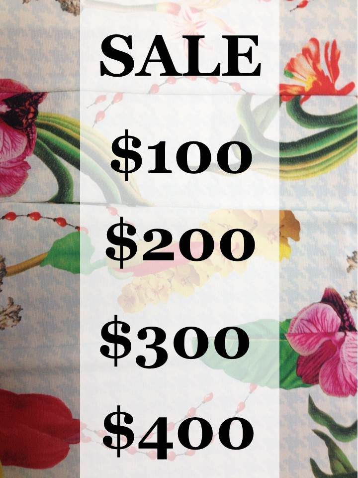 SUMMER SALE on now   Racks of $100, $200, $300 and $400