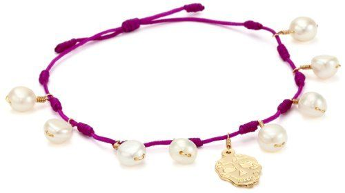 "Mercedes Salazar ""Milagritos"" Pearl and Skull Gold-Plated Charm Adjustable Knott Red Bracelet Mercedes Salazar. $37.50. Adjustable bracelet. Hand made. Made in Colombia. Save 25% Off!"