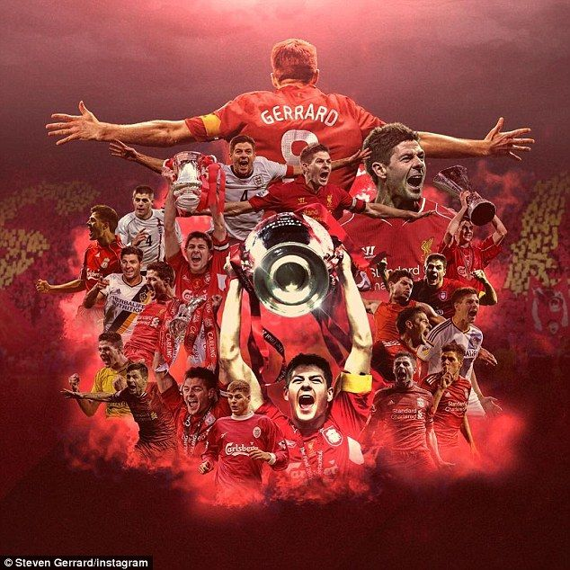 Gerrard posted a collage of his career on, Instagram taking in Liverpool, England and Galaxy