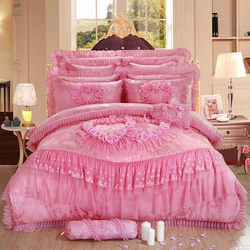4/6 pcs Oriental lace red pink luxury bedding set queen King size wedding bed cotton bed sheets duvet cover set bedspreads