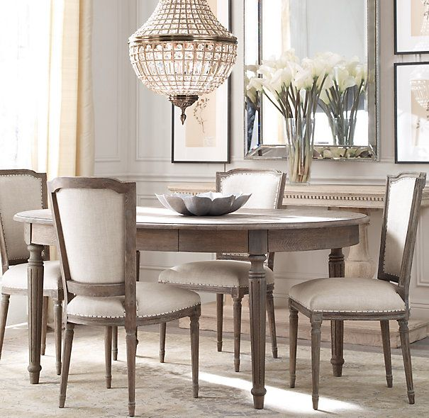 "$995 on sale. Regular $1,299.  72"" oval with a 20"" leaf.  Also, a 48"" round is available with a 20"" leaf.  Vintage French Fluted-Leg Dining Tables from Restoration Hardware."