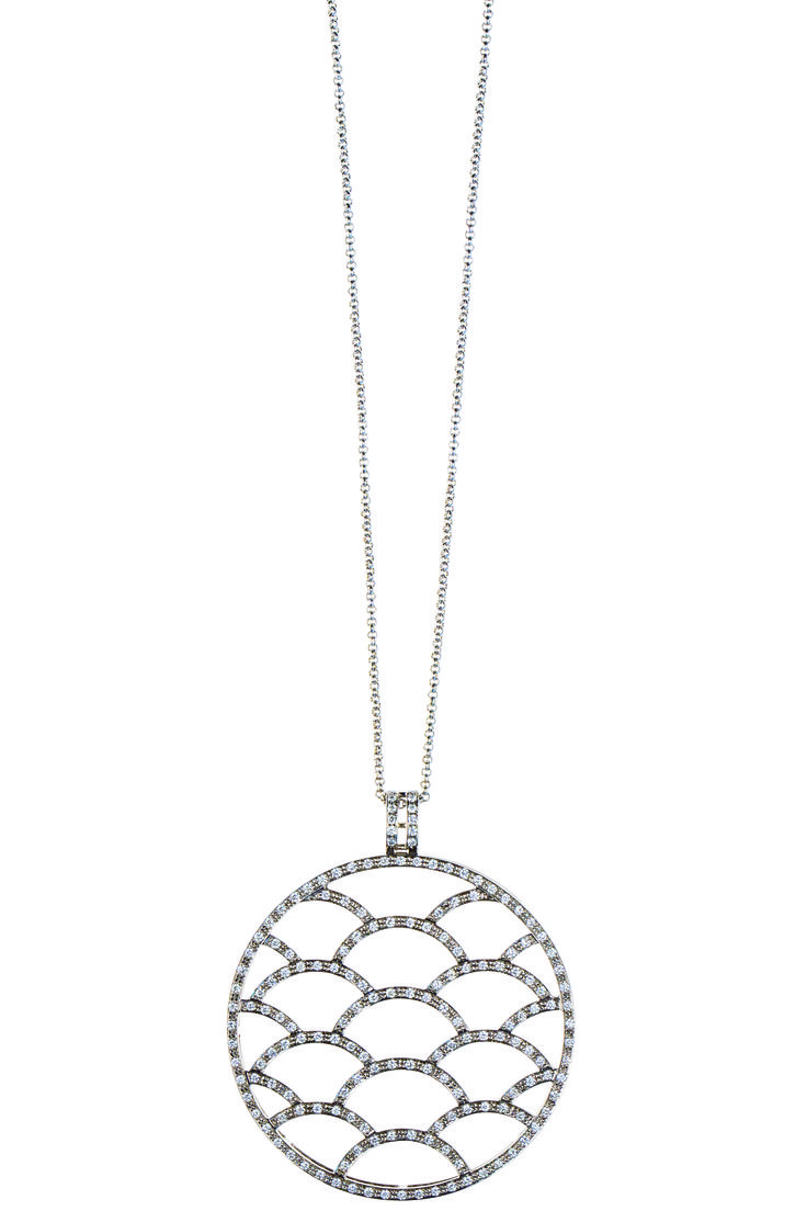 """Charlotte art deco necklace in 18k white gold with 172 diamonds from the limited edition """"Future Glam""""."""
