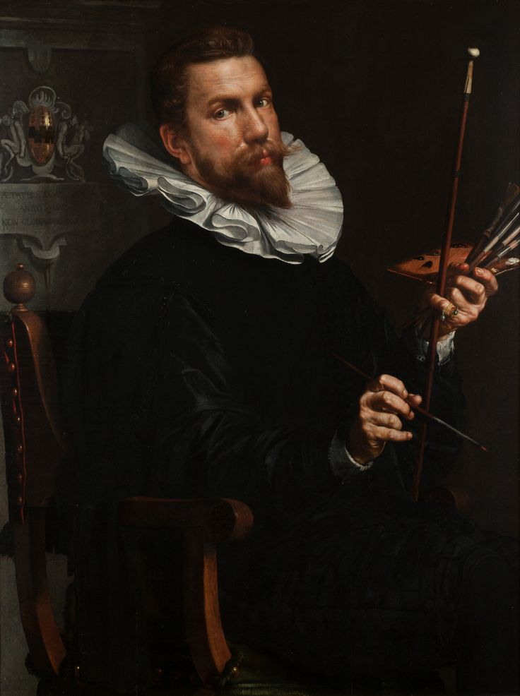 Joachim Wtewael speelt veel met het thema liefde en lust. Zo schildert hij zichzelf met een palet, penselen en schilderstok. Hij heeft rode verf op zijn kwast. Die kleur is niet helemaal willekeurig gekozen, maar een knipoog naar de kijker. Rood is de kleur van gevaar, maar ook van liefde en lust.  [Joachim Wtewael. Zelfportet, 1601. Collectie Centraal Museum, Utrecht]