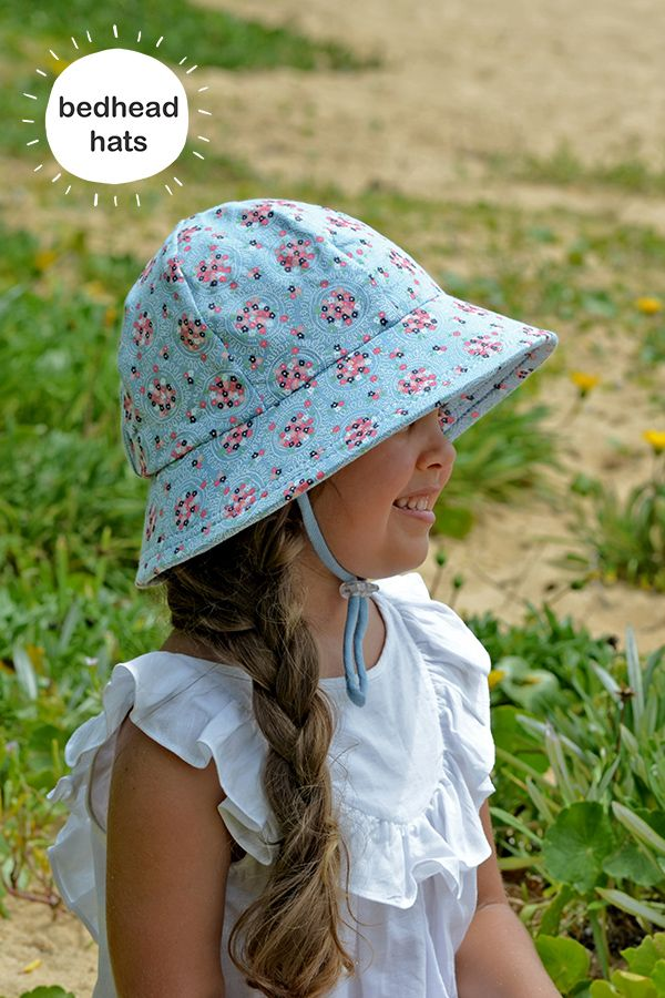 UPF 50+ kids bucket sun hat with chin strap in 'Ava' Chambray print #bedheadhats #kidshats #kidsfashion