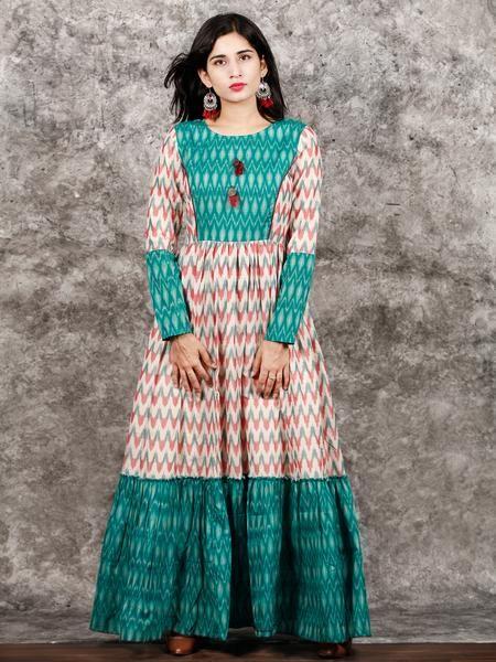207750ac3162 White Teal Green Wine Hand Woven Ikat Princess Cut Long Tier Dress -  D175F1277 in 2019