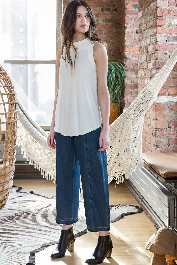 Lilla P Mock Neck Swing Top with Chambray Culottes