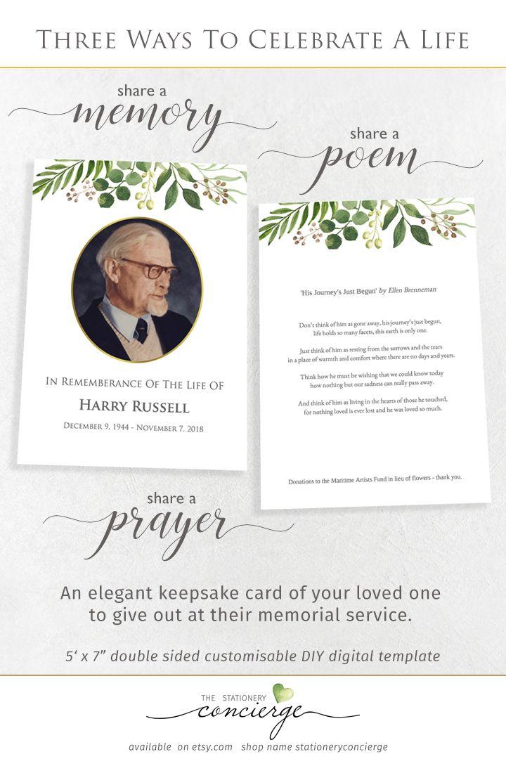 A Printable Greenery Funeral Memory Or Prayer Card Template Features Original Watercolors For An Upli Funeral Prayers Memorial Cards For Funeral Memorial Cards