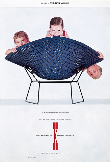 3 kids in a Bertoia chair. vintage Knoll ad.  This is both adorable and slightly worrying. Kids biting a $1700 chair? Oof.