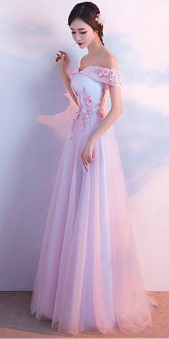 a03a5905e57 Pretty Tulle   Lace Off-the-shoulder Neckline A-line Bridesmaid ...