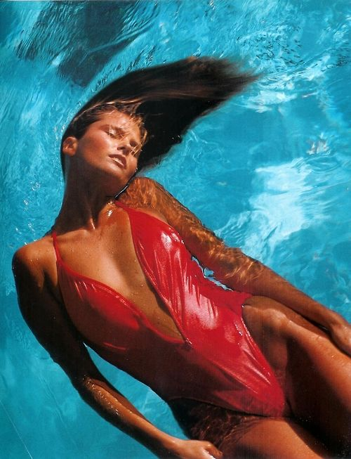 Christie Brinkley in a red swimsuit, photographed by Bruce Weber, June 1983