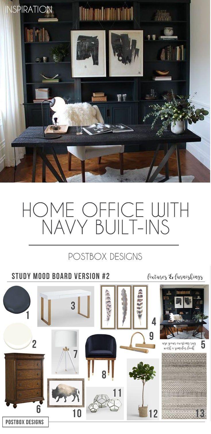 Postbox Designs Interior E Design Home Office With Navy Shelves Study Decor Via Online Modern Built Ins