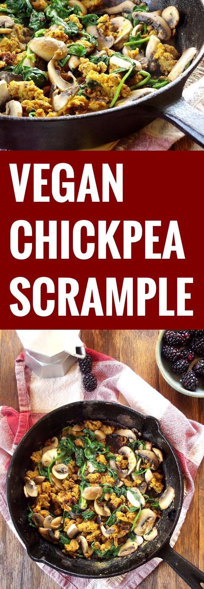 This savory vegan chickpea scramble is made from a chickpea flour batter, scrambled up with garlicky sauteed spinach and mushrooms.