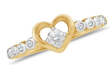 10k Yellow OR White Gold Ladies Womens Diamond Heart Ring (1/10 cttw.) Sonia Jewels. $199.00. Pure, Real & Natural Diamonds - GUARANTEED. .10 Total Diamond Carat Weight. *** FREE Velvet Ring Box ***. *** FREE Standard Shipping ***. 10K Gold GUARANTEED, Authenticated with a 10K Stamp