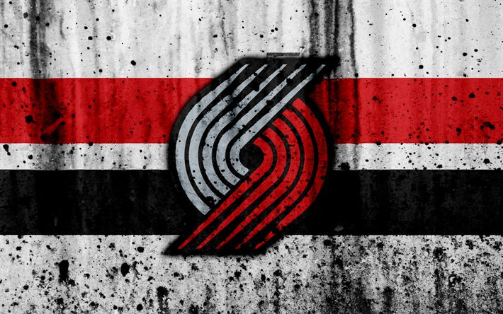 Download wallpapers 4k, Portland Trail Blazers, grunge, NBA, basketball club, Western Conference, USA, emblem, stone texture, Blazers, basketball, Northwest Division
