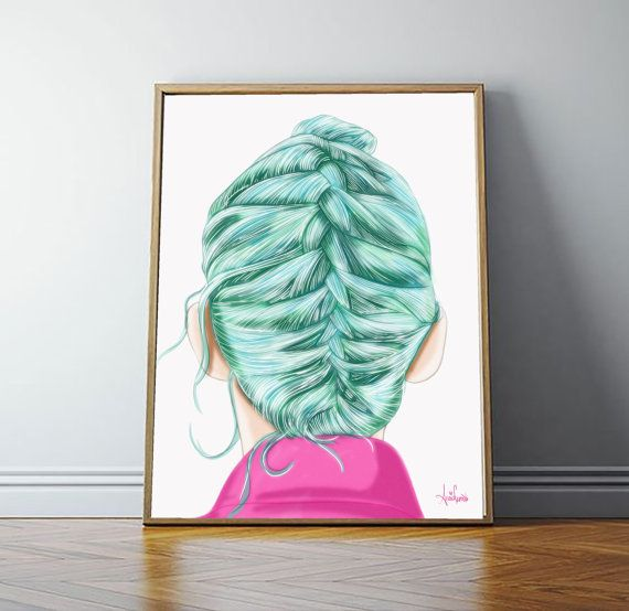 Braided By: Anais Germosen 24X36 Poster Artwork  #illustrations #art #fantasy #digital #artwork  #fashion #print #drawing #artwork #sexy #braids #pink #fashionillustrations #punk #teal #pink #posters #rocker #funart #creative #face #head #tealhair #photography #painted #paint #artgallery #highfashion #runways #digitalart #anaisgermosen #anais_gsen #elizboholove