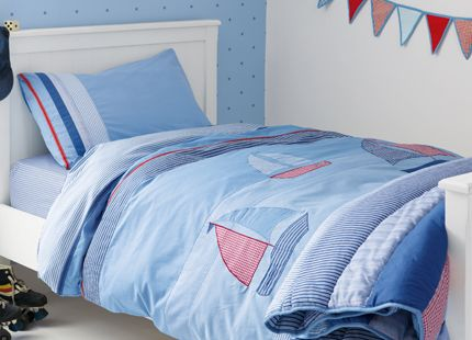 On The Sea Cotton Duvet Set A great edition to any boys bedroom, our new nautical themed duvet set displays stylishly appliqued boats teamed with stripe and check fabrics. Includes one single duvet cover and one pillowcase. 100% cotton.
