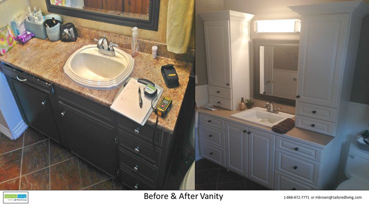 A fantastic transformation for this bathroom vanity! Not only did we quadruple the storage, we included crown moulding to add a touch of class to the space.
