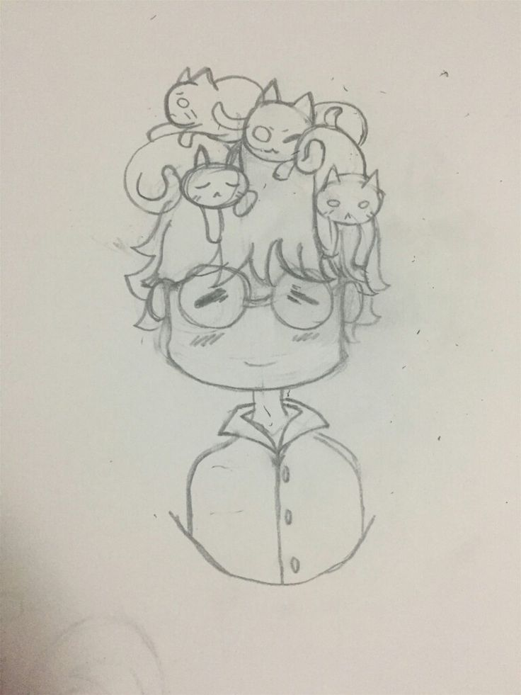 Keegan with his lovely gang of cats =°∆°= Created by Keegan #sketch #cute #boy