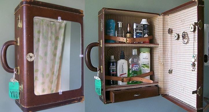 Upcycled Bathroom Ideas: Old Suitcase Upcycled Into Bathroom Medicine Cabinet