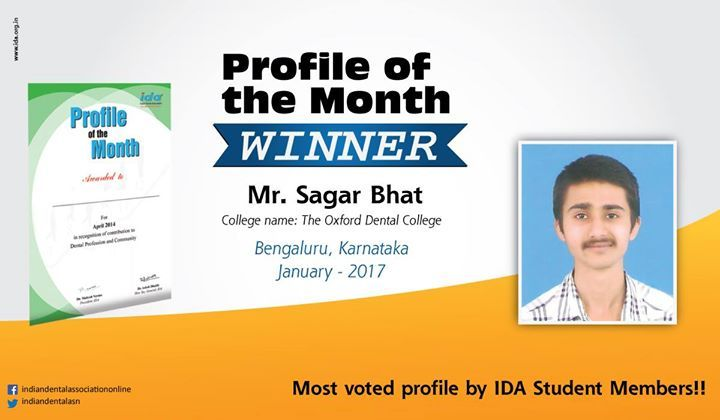 Congratulations to the winner of our Profile of the Month contest for January 2017 Mr. Sagar Bhat from Bengaluru/ Karnataka. Mr. Bhat is the most voted by the dental student members. Want to be featured in the #ProfileofTheMonth contest next month to exhibit your skills and talent? To participate visit: http://bit.ly/IDAProfile