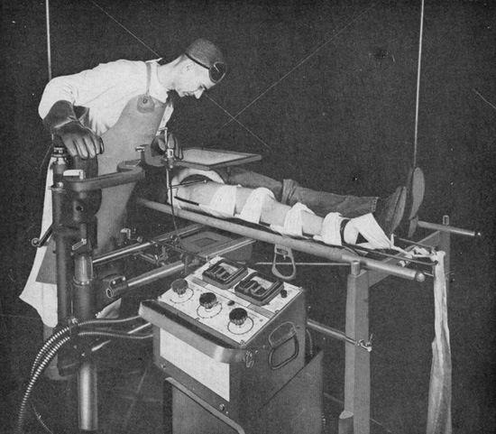 Early xray fluoroscope.  No image intensifier.