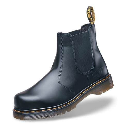 Dr Martens Icon Safety Dealer Boot SBEN ISO 20345 compliant 200J Impact resistant steel toecap Aircushion footwear - Airwair cushioned sole Leather upper Antistatic properties SRA Slip resistance Oil resistant Heat resistant 80 degrees