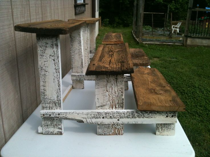 Craft show jewelry step riser. Shabby chic made from reclaimed wood.