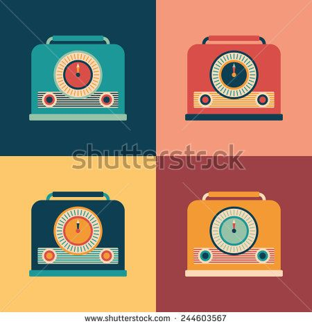 Colorful set of retro radio receivers. #retro #retroicons #flaticons #vectoricons #flatdesign