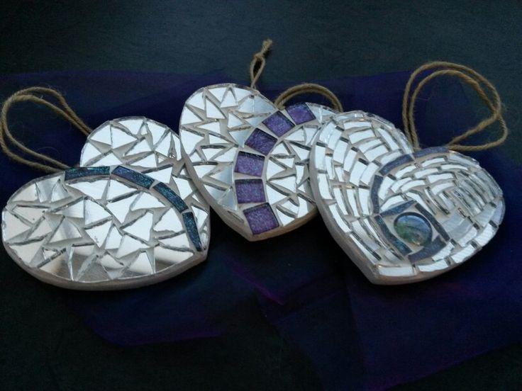 Purple mosaic hearts