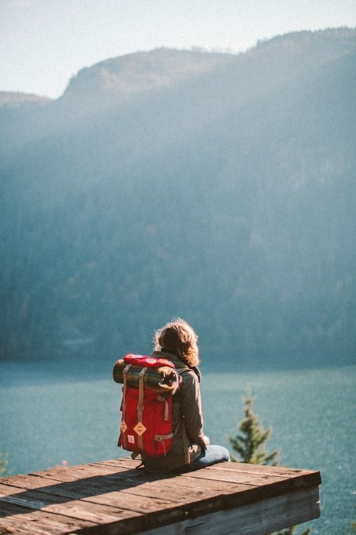 Backpacking on the edge of a lake.