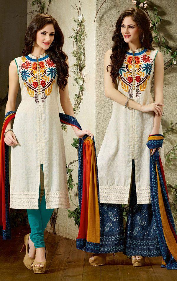 Flamboyant Off White Ready Made Salwar Kameez