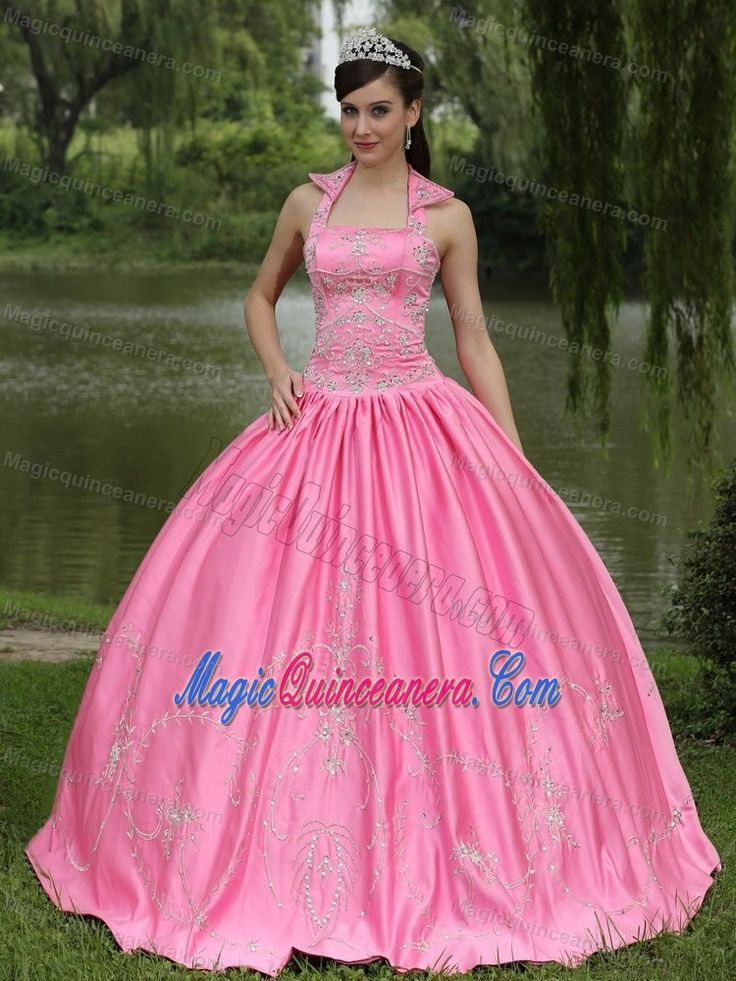 Rose Pink Beaded Halter Taffeta Dress For Quinceanera in London